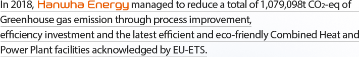 In 2017, Hanwha Energy managed to reduce a total of 964,628t CO2-eq of Greenhouse gas emission through process improvement, efficiency investment and the latest efficient and eco-friendly Combined Heat and Power Plant facilities acknowledged by EU-ETS.